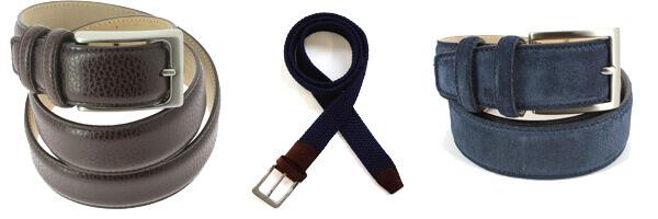 Ceinture cuir, Daim bleu marine, 35mm bords surpiqués et ceinture tréssée bleu