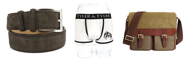 Ceinture cuir, Daim marron, 35mm bords surpiqués boxer homme et sac cuir simon carter