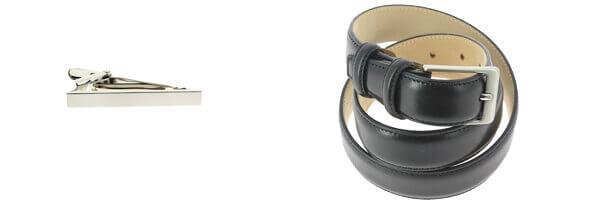 Ceinture cuir, Liscio, couleur noir 30mm avec pince à cravate slim