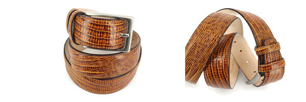 Ceinture cuir, Serpent tan, 35mm bords surpiqués