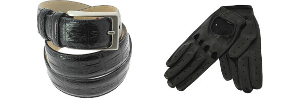 Ceinture cuir, empreinte crocodile noir, Coda et gants cuir noir