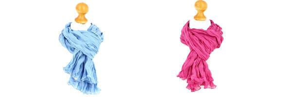 Chèche coton, Bleu ciel et rose fuchsia