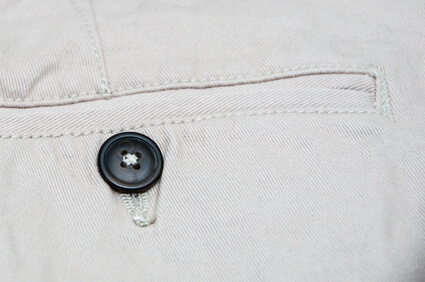 Close up of Chinos pocket - poche de pantalon chinos