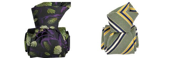 Cravate Classique Segni Disegni pure soie, Pivoines vertes et club