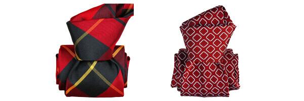 Cravate Classique Segni Disegni, Belfast, Carreaux et aramis rouge