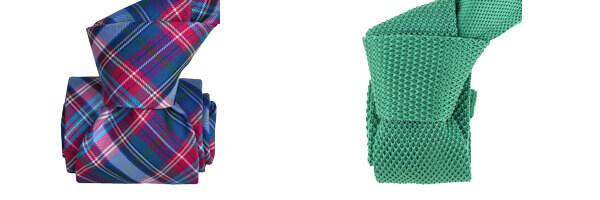 Cravate Classique Segni Disegni, Scotland, Carreaux et cravate tricot vert.