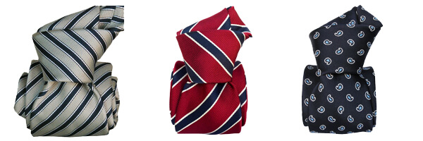Cravate Classique soie Segni et Disegni- Mogador Capri Bleu savone rouge etluxe rayée gris et bleu