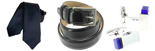 Cravate Segni Disegni CLASSIC, Slim Marine ceinture cuir anguille et boutons de manchette bleu