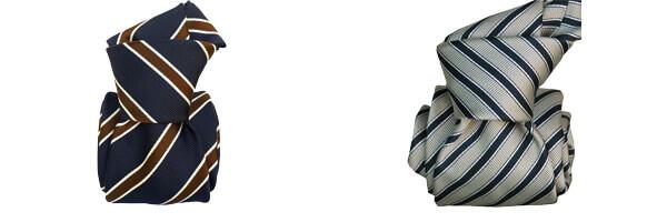 Cravate Segni Disegni LUXE MOGADOR, Faite main- Rayée marine et gris et mogador marine et rouge