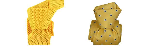 Cravate Segni Disegni LUXE, Faite main, Grenade jaune et cravate tricot jaune