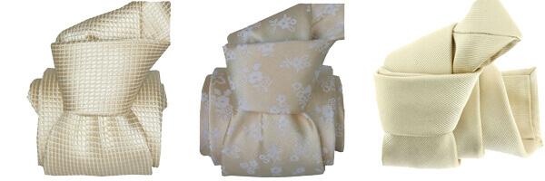 Cravate luxe faite à la main, Avorio, et seigni disegni crème et Turin