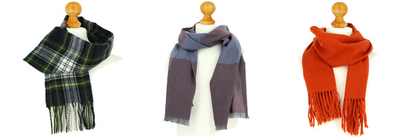 Echarpe en laine dAustralie, 30x160cm, Aberdeen vert bleu ou orange