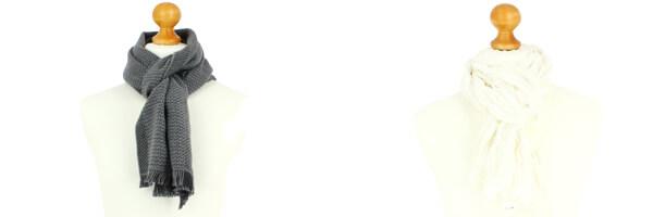 Echarpe en laine dAustralie, 35x180cm, gris avec cheche homme blanc