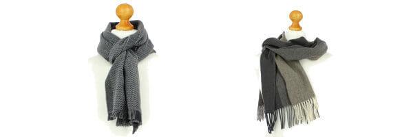 Echarpe en laine dAustralie, 35x180cm, gris et Echarpe en laine dAustralie taupe