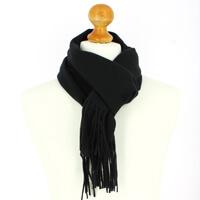 Echarpe noir luxe unie en laine dAustralie, 37x180cm
