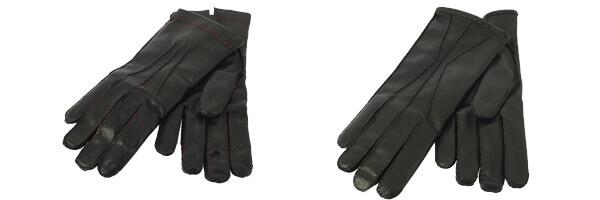 Gant cuir Luxe, agneau-cachemire, fait main en Italie en marron et en noir fils rouge