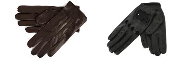 Gants cuir marron foncé