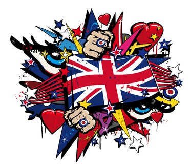 Graffiti UK flag pop art illustration