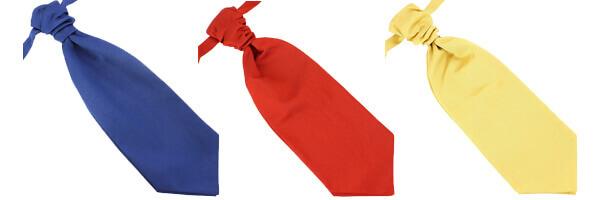 Lavallière nouée en soie, Faite à la main Bleu royal, rouge geraneo et oro