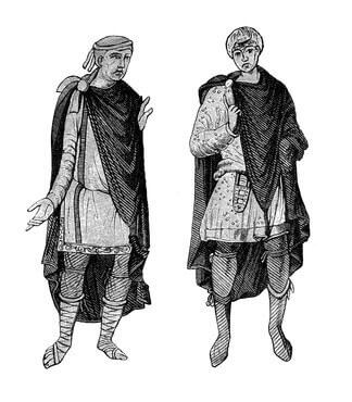 Costumes allemands de V à VIII siècle  tunique courte, manteau de la cheminée, breies accroché aux genoux ou aux chaussures mi-mollet et en cuir