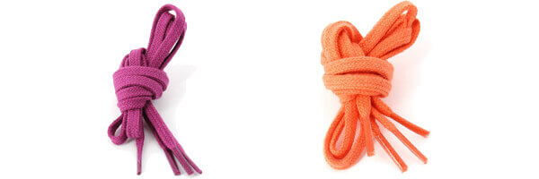 lacets-plats-coton-couleur-orange et violet