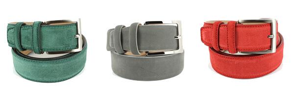 ceinture-cuir-daim-rouge-35mm-bords-surpiques ou vert et gris