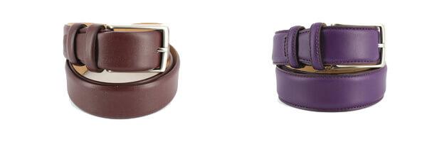 ceinture-cuir-de-veau-bordeaux-35mm et prune violet
