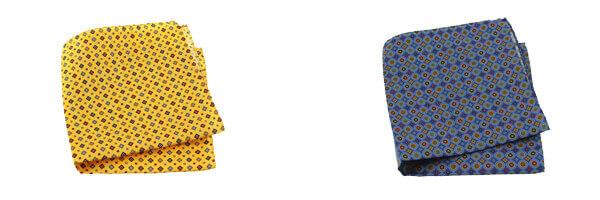 pochette-en-soie-italienne-sofia-jaune-bouton-d-or et cercle bleu