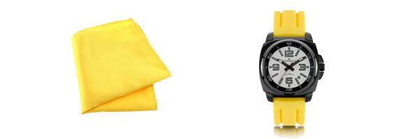 Montre Kennett Valour, Blanc sur jaune avec pochette jaune poussin CLJ