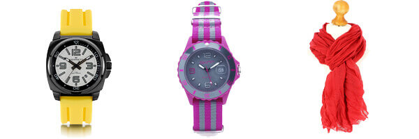 Montre Kennett Valour, Blanc sur jaune montre skimp rose fuchsia et cheche rouge