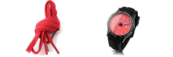 Montre, Kennett Altitude Watch - Lava Red and Med Blue et lacet plat rouge