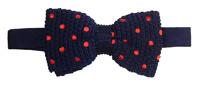 Noeud papillon tricot, Soie, marine à pois rouge
