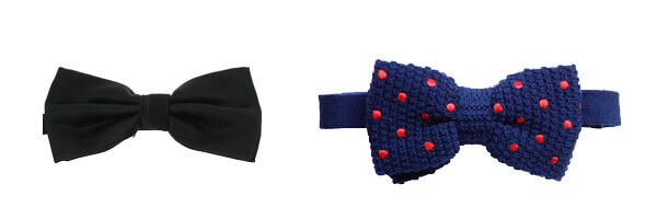 Noeud papillon tricot, laine, marine à pois rouge et noeud papillon noir