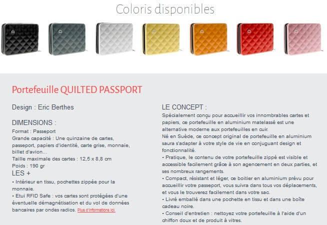 coloris pour le portefeuille passeport ogon
