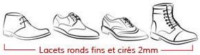 chaussures avec lacets ronds et fins