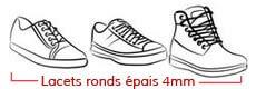 chaussures avec lacets ronds et épais