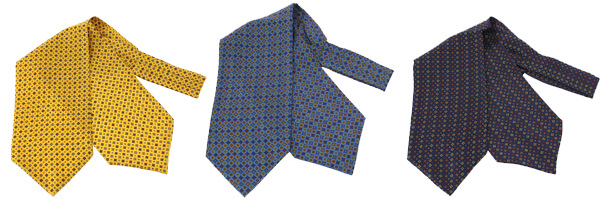 Pierre Hugues, Foulard Ascot soie, jaune bleu et marine
