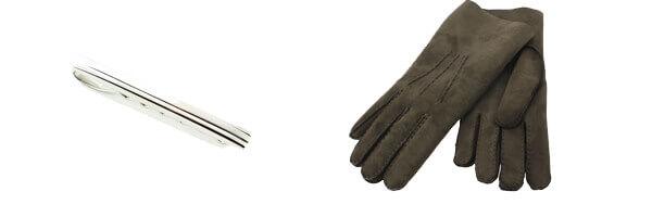 Pince à cravate, Designs brushed, argenté et gants en cuir marron