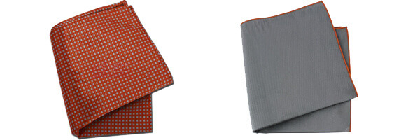 Pochette soie, Elefante, ourlet orange et city orange