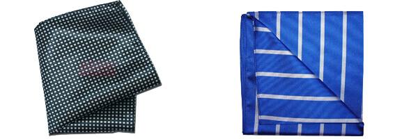 Pochette soie, Tyler and Tyler, Stripe, bleu et blanc avec pochette city marine