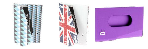 Porte-carte de visite alu violet, Ogon Design, One Touch et porte carte graphic
