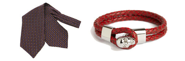 foulard ascot Tony and Paul et bracelet cuir rouge simon carter