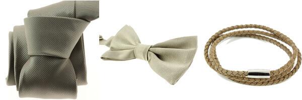 bracelet cuir homme, noeud papillon lin et cravate taupe