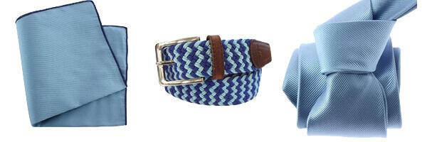 ceinture tressée beu pochette et cravate bleu