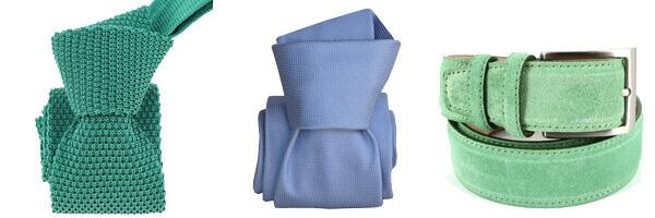cravates soie bleu verte et ceinture daim
