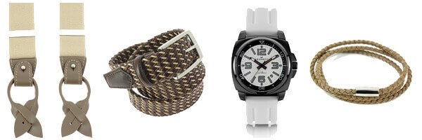 bretelles montre ceinture tressée cuir et bracelet homme