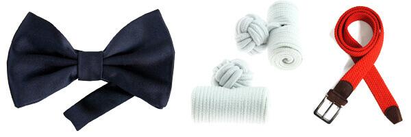 noeud papillon soie bleu, boutons de manchette blanc et ceinture tressée rouge