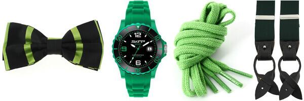 noeud papillon vert, montre skimp, lacet de couleur verte, bretelles