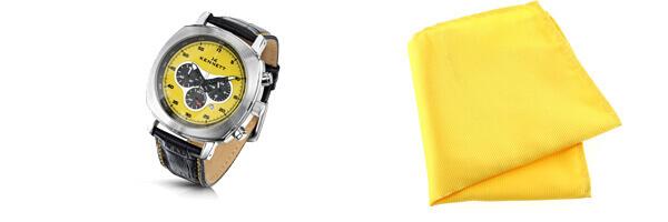 montre kennett challenger jaune et pochette jaune