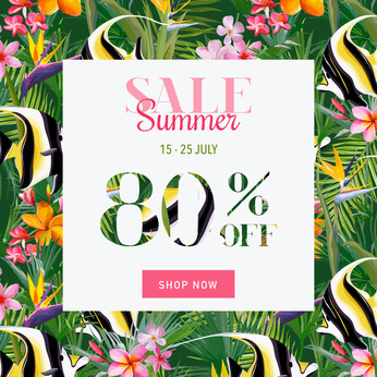 Summer Sale Tropical Flowers and Exotic Fish Banner, for Discount Poster, Fashion Sale, Market Offer in vector